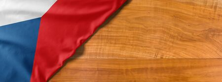 National flag of Czech republic on a wooden background with copy space Standard-Bild
