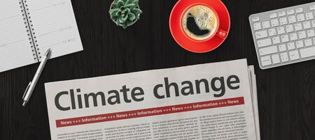 Newspaper on a desk -  Climate change