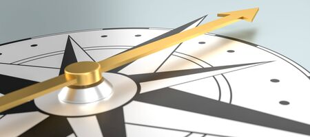 Compass with a golden compass needle - 3d rendering