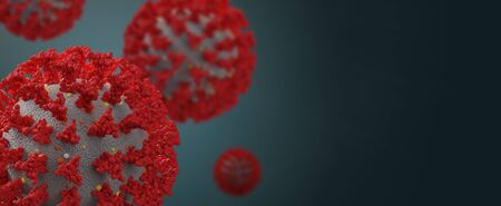 Coronavirus on a dark background with copy space - 3d rendering