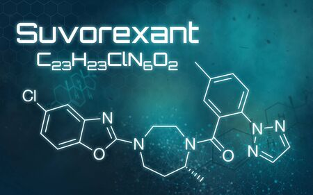 Chemical formula of Suvorexant on a futuristic background Standard-Bild