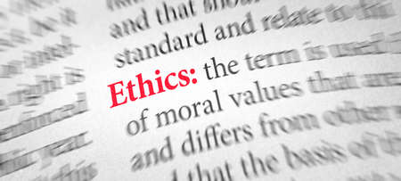 Definition of the word Ethics in a dictionary Stock Photo
