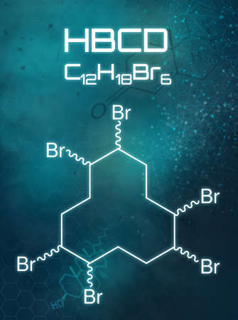 Chemical formula of HBCD on a futuristic background