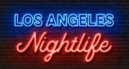 Neon sign on a brick wall - Los Angeles Nightlife Stock fotó