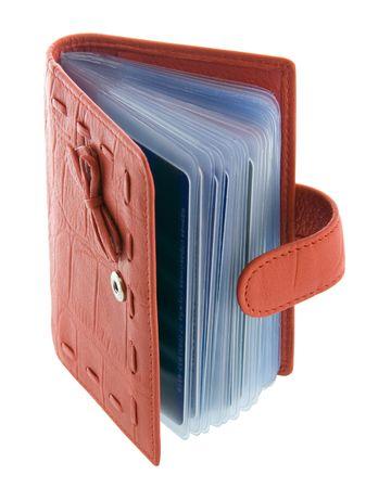 card holder: Red feminine business card holder Stock Photo
