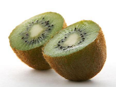 Two kiwi halves on white background Stock Photo - 2334891