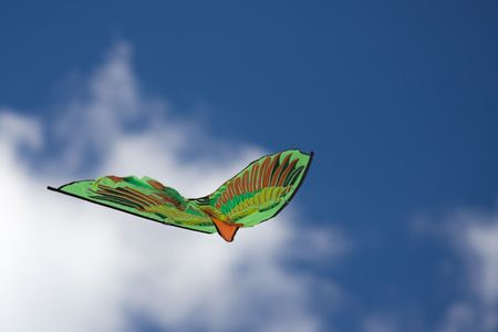 Green kite flying in the blue sky photo