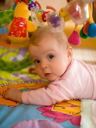 developmental: Little baby play in developmental toy