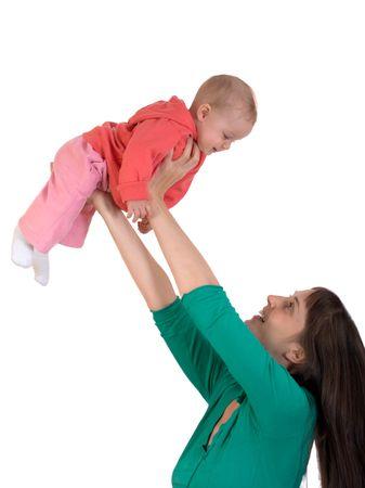 loose hair: Happy Baby con mamma isolato su bianco