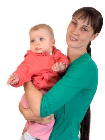 loose hair: Bambino felice con mamma isolata on white