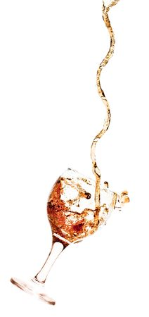 Goblet pouring with a splashing cola - isolated on white photo