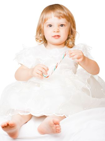 Little girl - isolated on white - shallow DOF, focus on eyes Stock Photo - 6399270