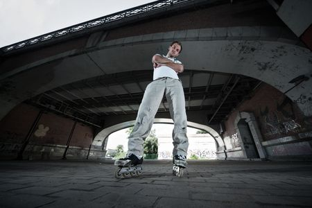 rollerskater in urban scenery photo