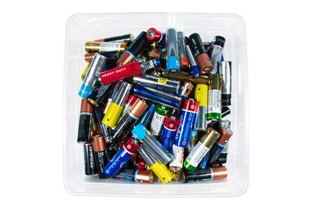 Used batteries in a box, prepared for recycling. 写真素材 - 132224842