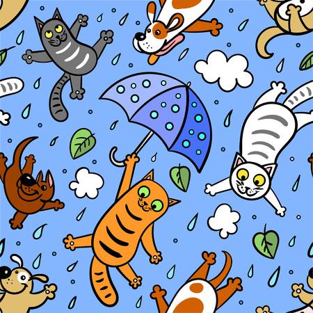 """""""Está lloviendo perros y gatos"""" Gráfico de patrones sin fisuras. Estilo Doodle. Dibujo a mano Ilustración de vector"""
