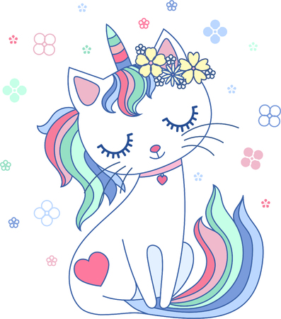Cute, cartoon, rainbow cat unicorn with a wreath of flowers. For design prints, posters, etc. Vector