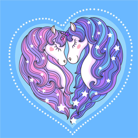 A pair of beautiful unicorns with a long mane against a blue background. In the shape of a heart. For design prints, posters, tattoos and so on. Vector