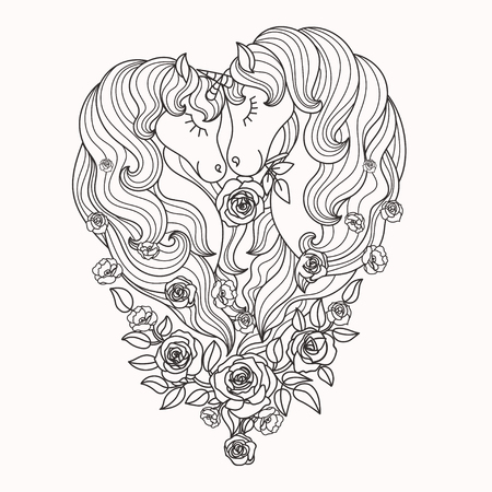 A pair of beautiful unicorns with a long mane in roses. Black and white. For coloring. For the design of posters, prints, tattoo. Vector 일러스트