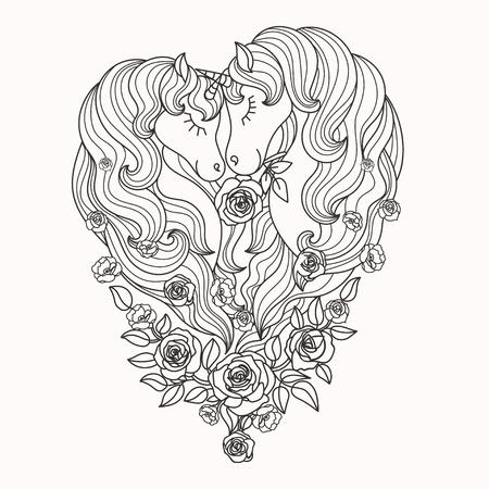 Para pięknych jednorożców z długą grzywą w róże. Czarny i biały. Do kolorowania. Do projektowania plakatów, grafik, tatuaży. Wektor