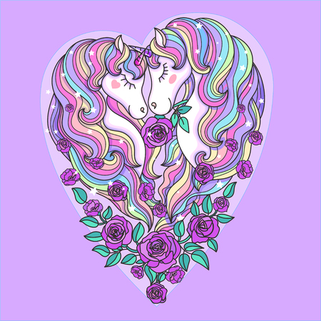 Two beautiful unicorns with a long mane, and roses. On a pink background. In the shape of a heart. For design prints, posters, tattoos and so on. Vector