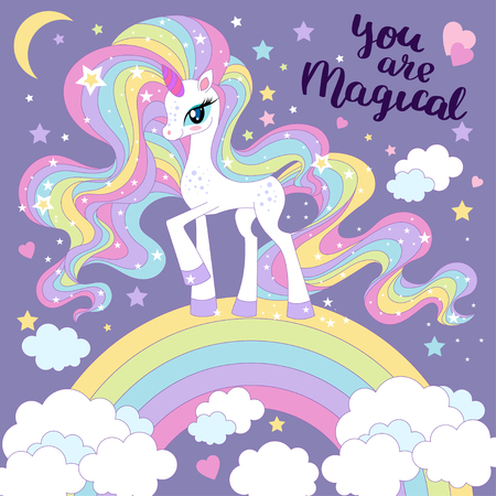 You are magical. Lovely cartoon, rainbow unicorn, with long mane. Illustration