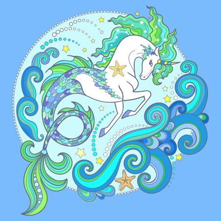 Beautiful white sea unicorn. On a green background. Hippocampus. For design of prints, posters, tattoos, etc. Vector illustration