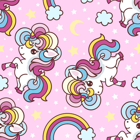 Seamless pattern. Unicorns, rainbow, stars, moon on a pink background. background. For fabric design, wallpaper, wrapping paper, etc. Vector