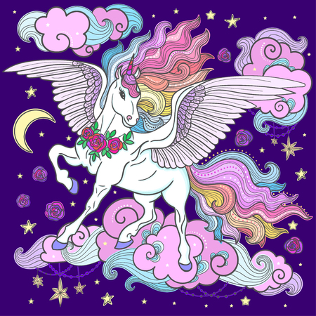 Beautiful unicorn with a long mane on a dark blue background. For the design of graphic prints, illustrations, posters. Vector