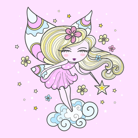 Little cute fairy with a magic wand. On a pink background. Pastel colors. For the design of prints, posters, etc. Vector clipart.