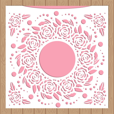 Die laser cut wedding card vector template. Invitation envelope with lace corner. Wedding lace invitation mockup. Template for cutting. Die cut pocket envelope template.