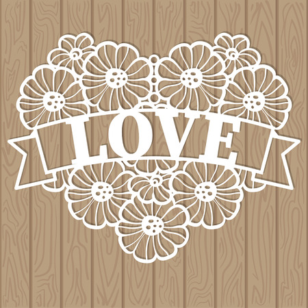 Template for laser cutting. The heart of lace consists of flowers, a love phrase. For the design of cards, menu, interior elements. Vector 矢量图像