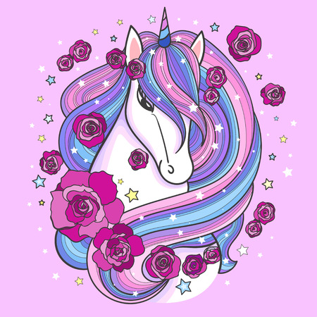 Rainbow unicorn among roses on a pink background. Vector illustration. For tattoo design, prints and posters