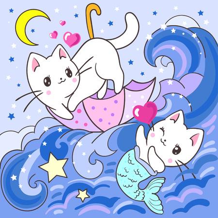 Cute, white kitten and mermaid kitten in the sea. For kids. For the design of posters, prints, etc. Vector illustration. Vector Illustratie