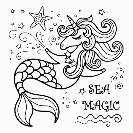 cute mermaid unicorn, vector illustration for coloring. For design prints, posters, etc. Vectores