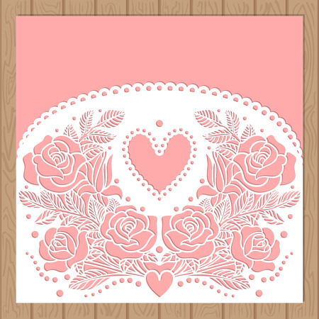 Laser cutting. Silhouette cutout pattern with flower and leaves. For the design of wedding invitations, envelopes, menus, cards. Vector