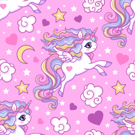Seamless pattern with white unicorns, stars, hearts. For children's design of wallpaper, fabric, etc. Vector