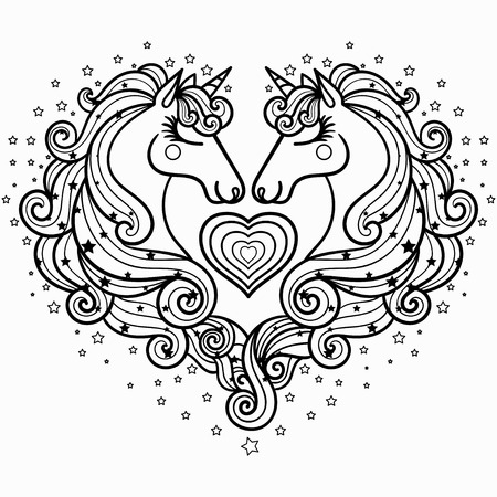 Two unicorns with a long mane. The magical animal. Black and white. Coloring pages for adults and children. For design prints, posters, tattoo. Vector