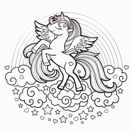 Cute rainbow unicorn. Black and white. Vector illustration for coloring book. For design prints, posters, tattoo. Vector