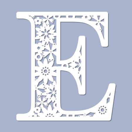 Laser cutting pattern. Letter E. Decorative letters of the alphabet. The initial letters of the monogram. For registration of cards, decorative elements of an interior and td. For cutting paper, wood, metal. Vector illustration