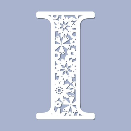 Laser cutting pattern. Letter I. Decorative letters of the alphabet. The initial letters of the monogram. For registration of cards, decorative elements of an interior and td. For cutting paper, wood, metal. Vector