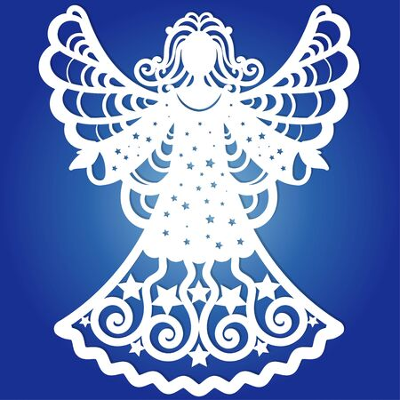 Carved openwork angel silhouette with heart. Laser cut Christmas carved openwork angel. Greeting card, Ornate stencil, advertising, discount, poster for holidays, carving, paper cutting.
