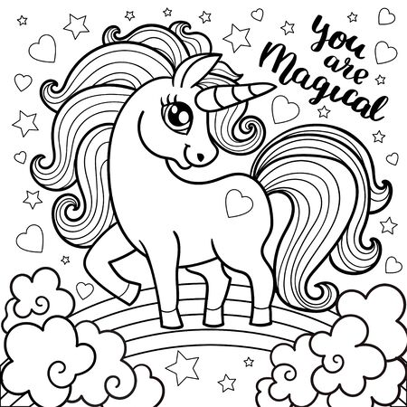 fairy unicorn, a magical animal horse for children. Unicorn fabulous. Cute cartoon black and white vector illustration with fantasy character. For coloring, tattoo, prints, posters, etc.