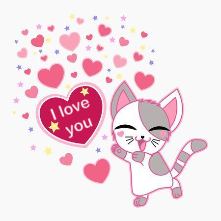 Cute cat with a heart. Text: I love you. Valentines Day. For the design of cards. posters. prints. Vector