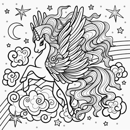 Beautiful, winged unicorn on a rainbow. Black and white illustration for coloring. For the design of prints, posters, tattoos, etc.Vector