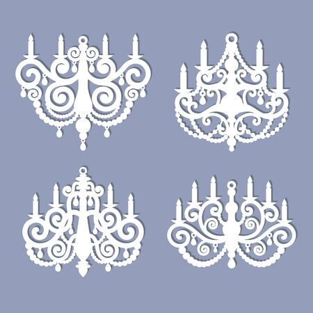 Laser cut chandelier template. Vector silhouette isolated on gray background.