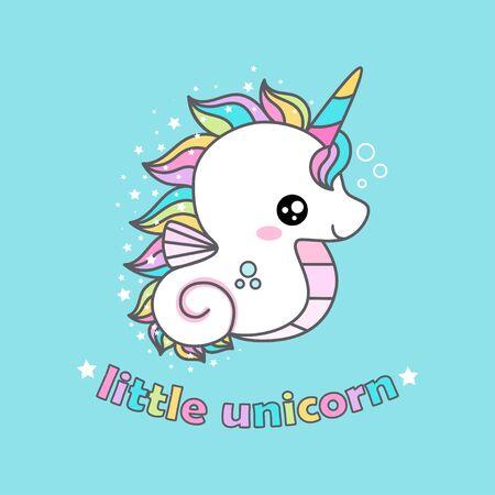 Cute dibujos animados kawaii unicornio caballitos de mar. para impresiones de diseño infantil, carteles, pegatinas, tarjetas, etc.vector