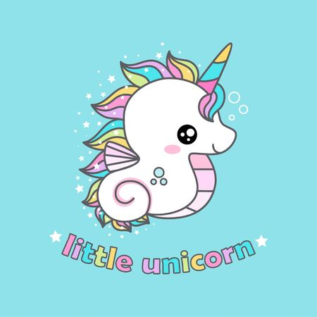 Simpatico cartone animato kawaii cavallucci marini unicorno. per stampe di design per bambini, poster, adesivi, cartoline, ecc. vettore