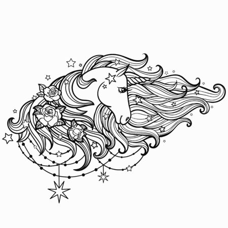 Unicorn with a long mane and roses. Black and white. For tattoo design, coloring books, graphic prints, cards. Vector illustration