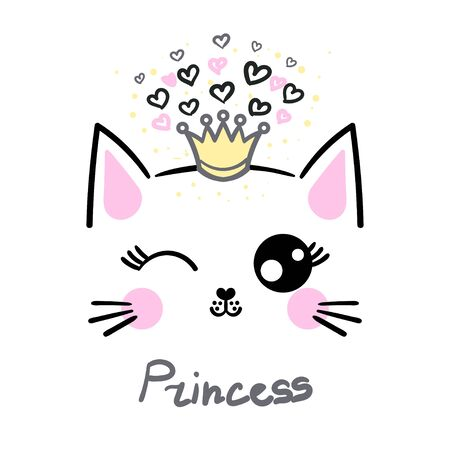 Cute cat princess. Drawn by hands. The concept of children's design. For prints, posters, cards. Vector