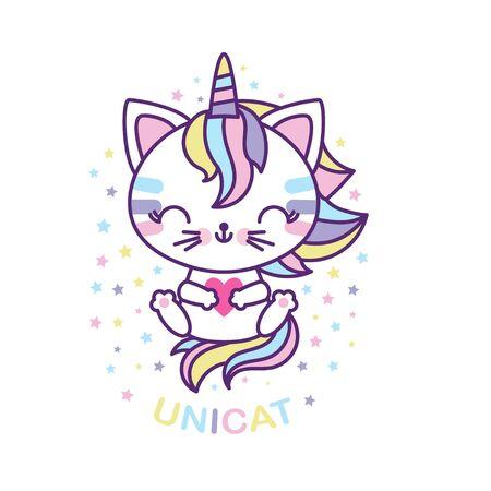 Cute white cat unicorn. Hawaiian cartoon character. For children's design prints, posters, cards, etc. Vector